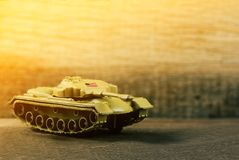 American Soldier war tank on the battlefield, selective focus royalty free stock photo