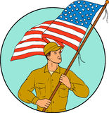 American Soldier Waving USA Flag Circle Drawing Stock Image
