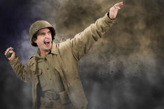 American soldier ww2 throwing a grenade Royalty Free Stock Photos