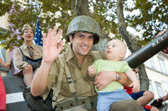 American soldiers baby boy tank Stock Image
