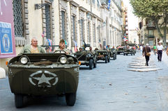 American soldiers military vehicles alligator. LUCCA - SEPTEMBER 5: 64th anniversary of Lucca liberation by US Army September 5, 2008 in Lucca, Italy Royalty Free Stock Images