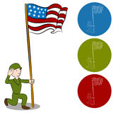 American Solider Saluting Flag Stock Images