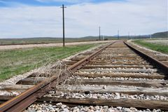 Railroad tracks off center with tumbleweed. American southwest dead vegetation blown by wind rests on rail of train track.  Parallel metal iron rails spiked and royalty free stock images