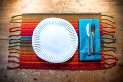 American Southwest inspired dinner place setting ideal for fall in rich colors. Horizontal aspect Royalty Free Stock Images