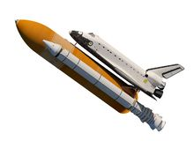 American Space Shuttle Isolated On White Background. 3D Illustration royalty free illustration