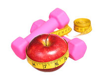 American Sport equipment. dumbbells, measuring tape Stock Images