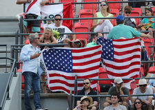 American sport fans supporting team USA during the Rio 2016 Olympic Games at the Olympic Park Royalty Free Stock Photo