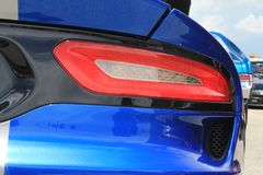 American sports car detail. New American sports car rear detail. Dodge Viper outdoors in sunny south Florida Stock Images