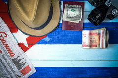 American spy in Cuba theme. Background Royalty Free Stock Images