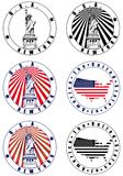 American Stamp. Vectorial set of postal stamp on theme of USA with American simbolism, executed in National color of USA . No blends Royalty Free Stock Photography