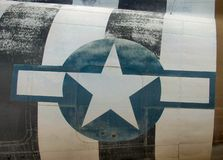 American star. Emblem representing the american military on the fuselage of an C-47 Douglas Royalty Free Stock Images