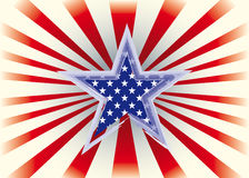 American star. With sunbeams on a background for you Royalty Free Stock Photo