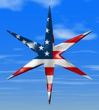 American Star. 6 Sides / Sky Background with Clouds Stock Illustration