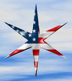 American Star. 6 Sides / Sky Background with Hight Clouds Stock Illustration