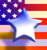 American Star. American flag composed with a Primary color gradient cropped with a single star floating above Stock Image