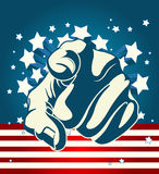 American Starburst Forefinger. American forefinger on starburst background Royalty Free Stock Image