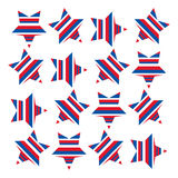 American stars with stripes 1. A stars and stripes pattern symbolising the American flag. Stars arranged in a square have been filled with red, white and blue Vector Illustration