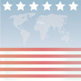 American Stars and stripes Wor. A scalable vector illustration of an American flag inspired world map stock illustration