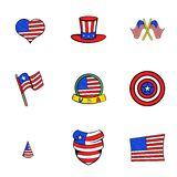 American states icons set, cartoon style Stock Images
