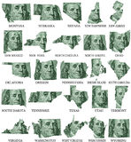 American States From M to W. Money maps on a white background royalty free illustration
