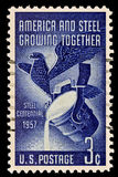 American and Steel Industry Issue. Honoring America and Steel growing together.Issued in 1957 Royalty Free Stock Image