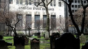 American Stock Exchange. The back view of American Stock Exchange from the side of a cemetery Stock Images
