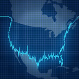 American Stock Market. With a finance investment diagram chart in the shape of the geography of the United States as a symbol of fluctuating value of investment Royalty Free Stock Photo