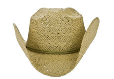 American straw cowboy hat front side on white Stock Photo