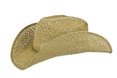 American straw cowboy hat left side on white Stock Photos