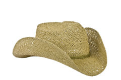 American straw cowboy hat right side on white Royalty Free Stock Photography