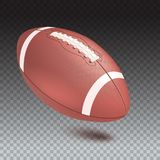 American striped football ball, diagonal position in frame. Realistic vector 3D illustration. Icon of the flying Rugby Stock Photo