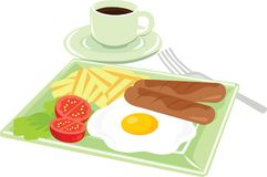 American Style of Breakfast Icon Vector Illustration. For any purpose such as book illustration, restaurant book menu, icon on blog, website, stationary, etc Stock Illustration