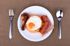American style breakfast set, American fried rice. Stock Image