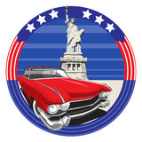 American Style II. Vectorial image of vintage car on a background American symbolism with Statue of Liberty Royalty Free Stock Photo