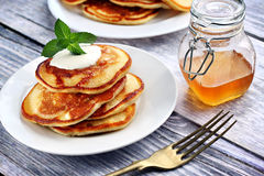 American style pancakes. Close up of plate with a pile of home made pancakes Stock Photo