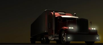 American style red truck at night. Semi Truck with Cargo Trailer. 3D rendering. The american style red truck at night. Semi Truck with Cargo Trailer. 3D royalty free illustration