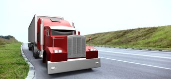 American style red truck. Semi Truck with Cargo Trailer. 3D rend royalty free illustration