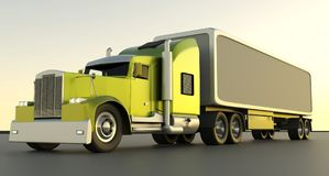 American style red truck. Semi Truck with Cargo Trailer. 3D rend. American Style Yellow Truck. Semi Truck with Cargo Trailer. 3D rendering royalty free illustration
