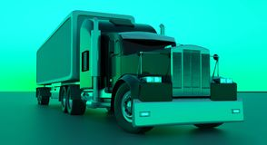 American style red truck. Semi Truck with Cargo Trailer. 3D rend. Ering stock illustration