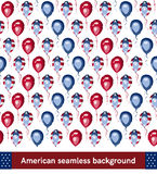 American style seamless pattern. Vector background. USA flag on balloons. For textile, web page, poster or cards design or national event invitation Royalty Free Stock Photo