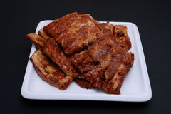 American style spare ribs on square white platter Royalty Free Stock Photos