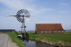 Medemblik, the Netherlands. American style windmill near the town of Medemblik in the Netherlands Stock Image