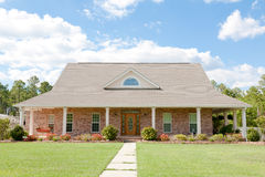American Suburban Brick Home. Large suburban brick home in an American neighborhood with a nice lawn Stock Images