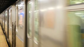 American Subway arriving station. American Subway or tube arriving at station stock video footage