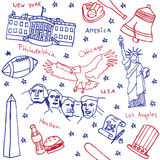 American symbols and icons seamless pattern. Red blue Stock Photo