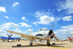 American T-28 Trojan was exhibit at Don muang, Tha Royalty Free Stock Photo