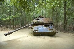 American Tank destroyed by Viet Congs. In Cu Chi, Vietnam in 1970 Royalty Free Stock Images
