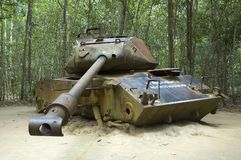 American tank destroyed during Vietnam War. American Tank destroyed by Viet Congs in Cu Chi, Vietnam in 1970 Stock Photos