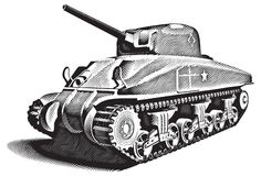 American Tank_engraving. Detailed ial image of American Tank - M4 Sherman - basic unit of American land forces in World War II Stock Photo