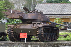 American tank M41 Walker Bulldog with tower in the city of Hue. Vietnam Stock Image
